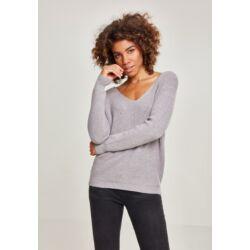Női V-nyakú fűzős pulóver