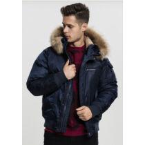 Férfi sötétkék kapucnis kabát