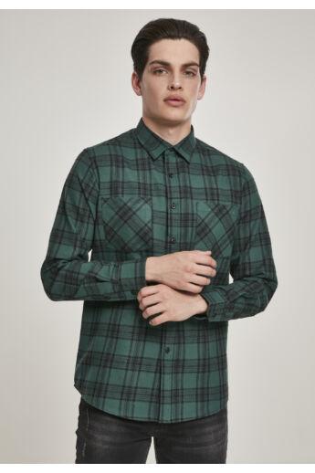 Zöld-fekete kockás flanell ing