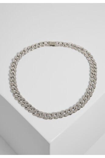 Ezüst színű nehéz nyaklánc kövekkel