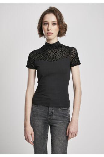 Női csipkés póló, fekete