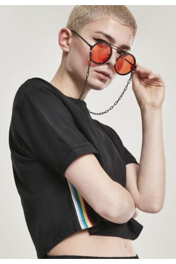 Fekete-narancs bohém napszemüveg lánccal