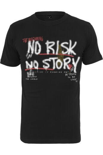 Mintás férfi póló No Risk No Story nyomattal