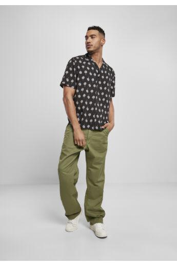 Fekete virág mintás nyári férfi ing