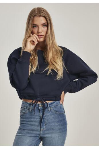 Túlméretezett sötétkék női pulóver