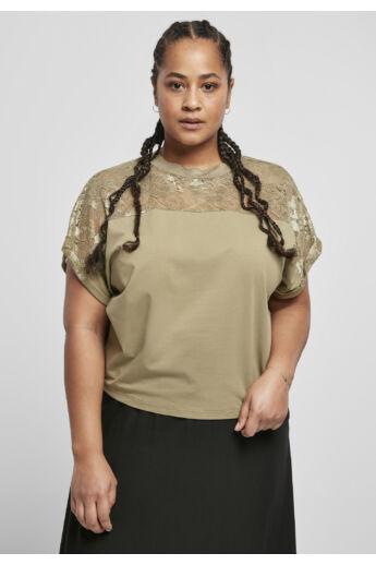 Női csipkés póló, khaki
