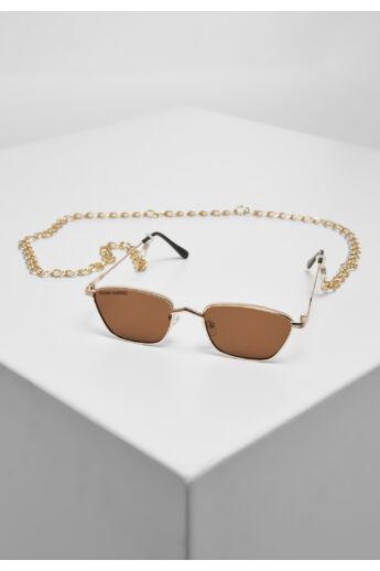 Divatos arany-barna napszemüveg lánccal
