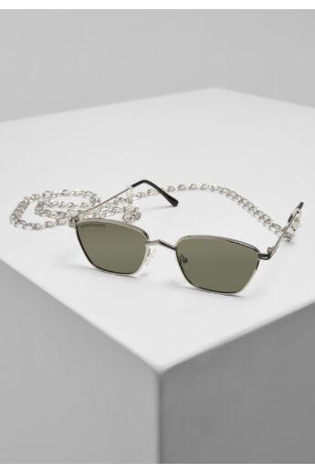 Divatos ezüst-zöld napszemüveg lánccal
