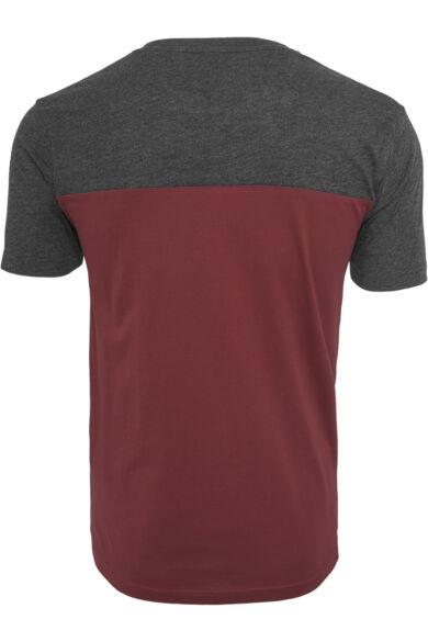 bordó-szürke férfi zsebes póló