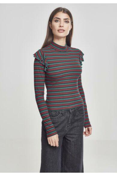 női csíkos vékony pulóver, női felső,