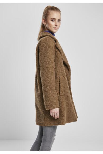 Barna női sherpa kabát