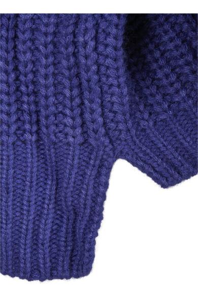 lila női kötött rövid pulóver