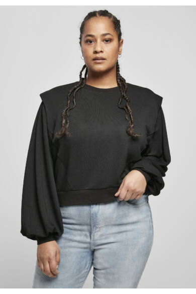 divatos párnázott vállú pulóver