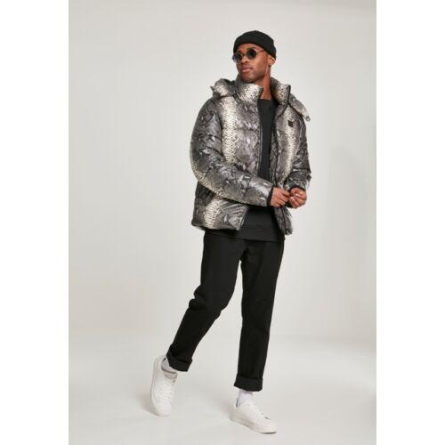 kigyó mintás férfi téli kabát